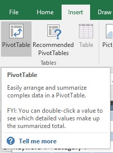 Inserting a pivot table