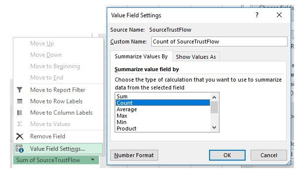 Value field settings when creating a pivot table