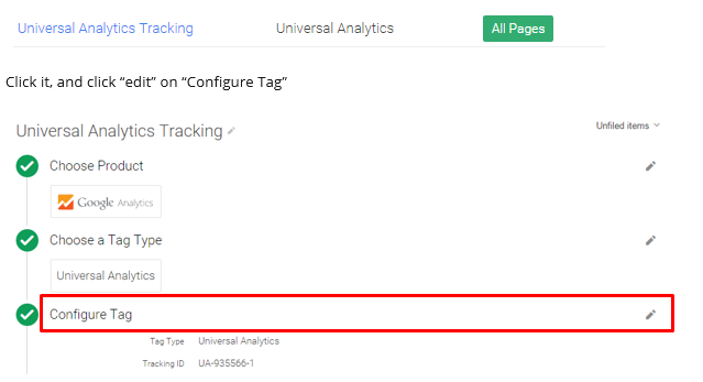 universal analytics tracking tag