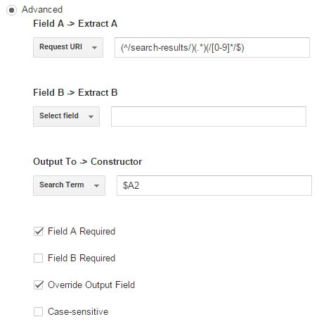 Advanced Filter Google analytics