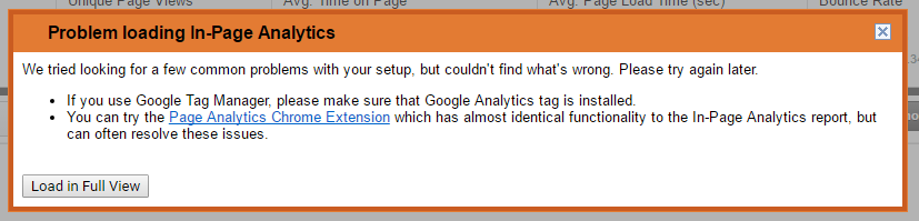 In Page Analytics Broken