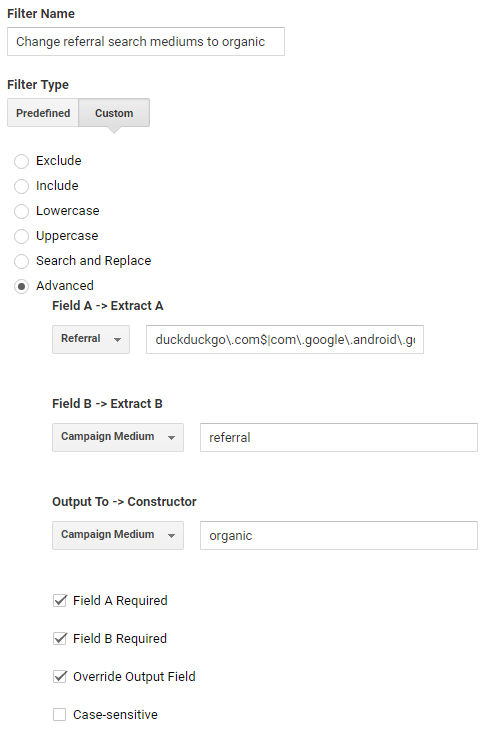 Advanced Referral to Organic Filter Google Analytics