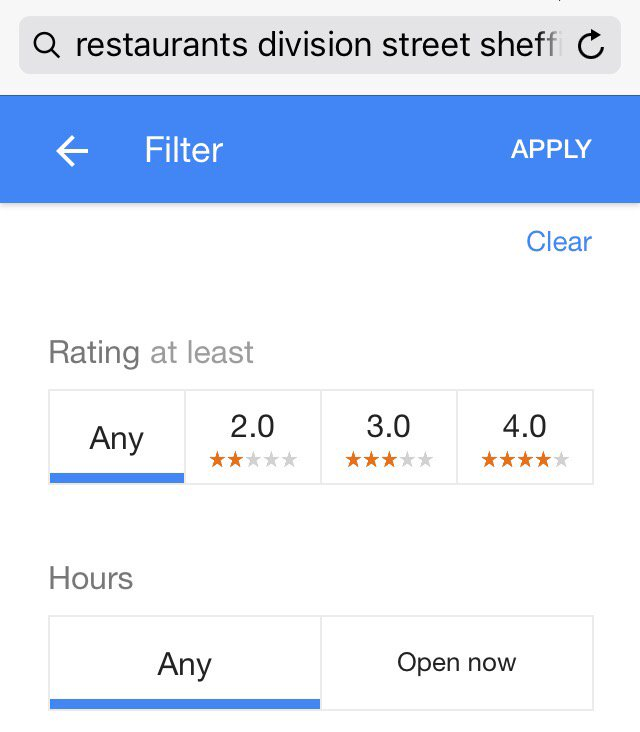 Local search results filtered by star ratings