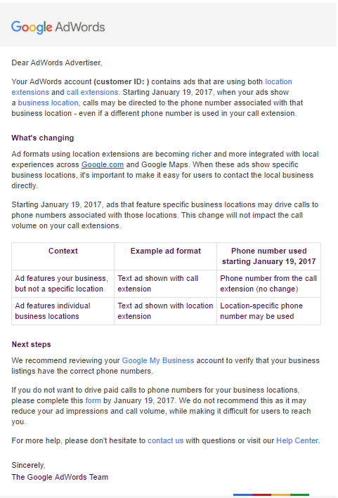 Google AdWords letter to advertisers about location specific phone numbers