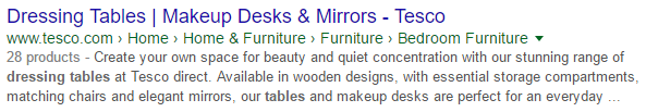 Dressing tables search result Tesco structured markup