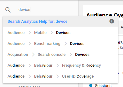 Google Analytics Searching Reports