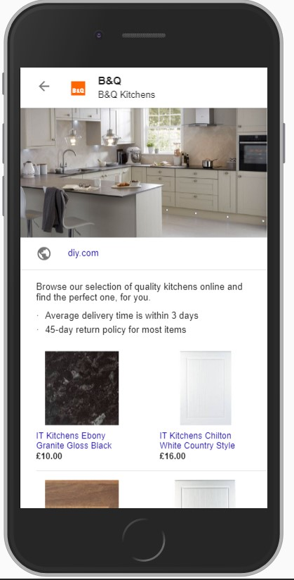 B&Q's Google showcase ad on mobile device