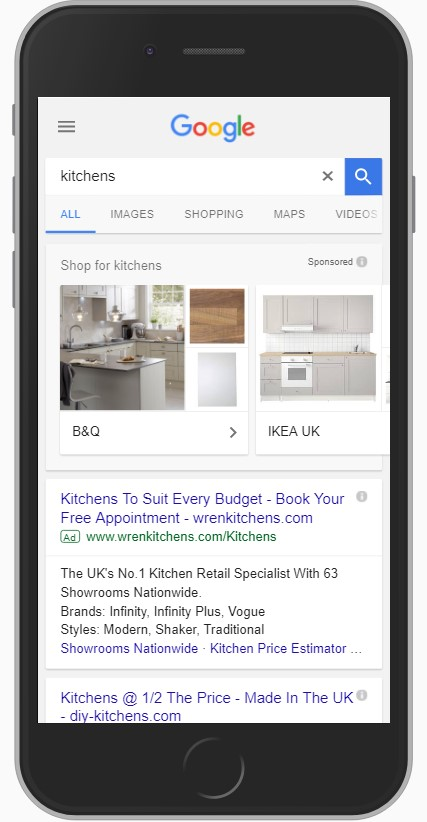 Google's Showcase Shopping ads on mobile device