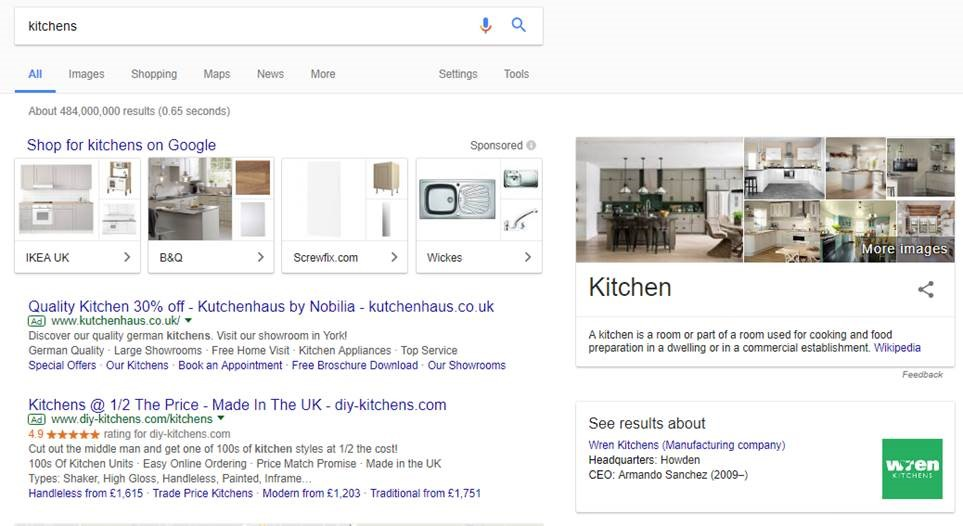New ad in Google searches on desktop