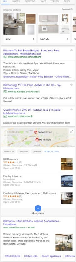 "Organic results for ""kitchens"" search query"