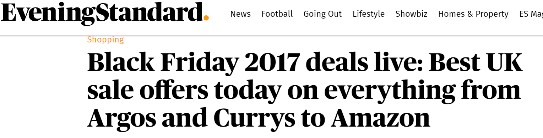 Black Friday headlines from The Evening Standard
