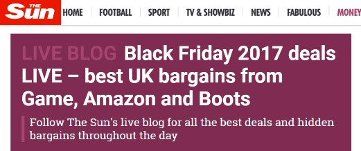 Black Friday headlines from The Sun