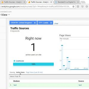 Google Analytics traffic source test