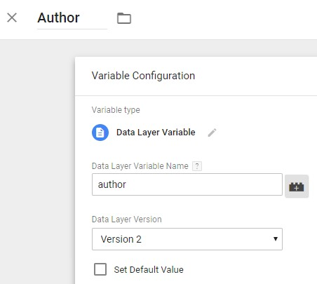 Variable configuration in Google Analytics