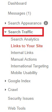 Search traffic tab in Google Search Console