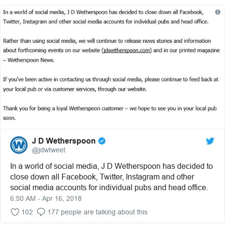 Why Wetherspoon closed their social media accounts - Edit
