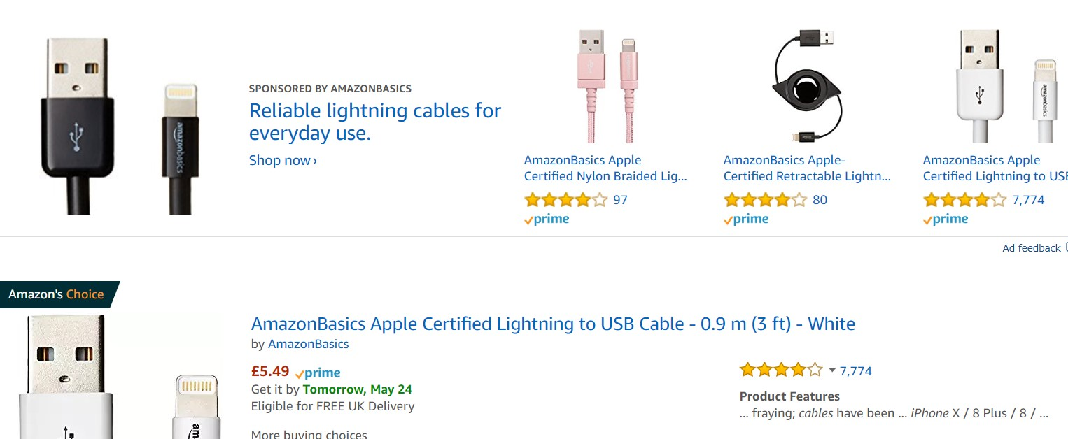 The paid top results for iPhone chargers on Amazon