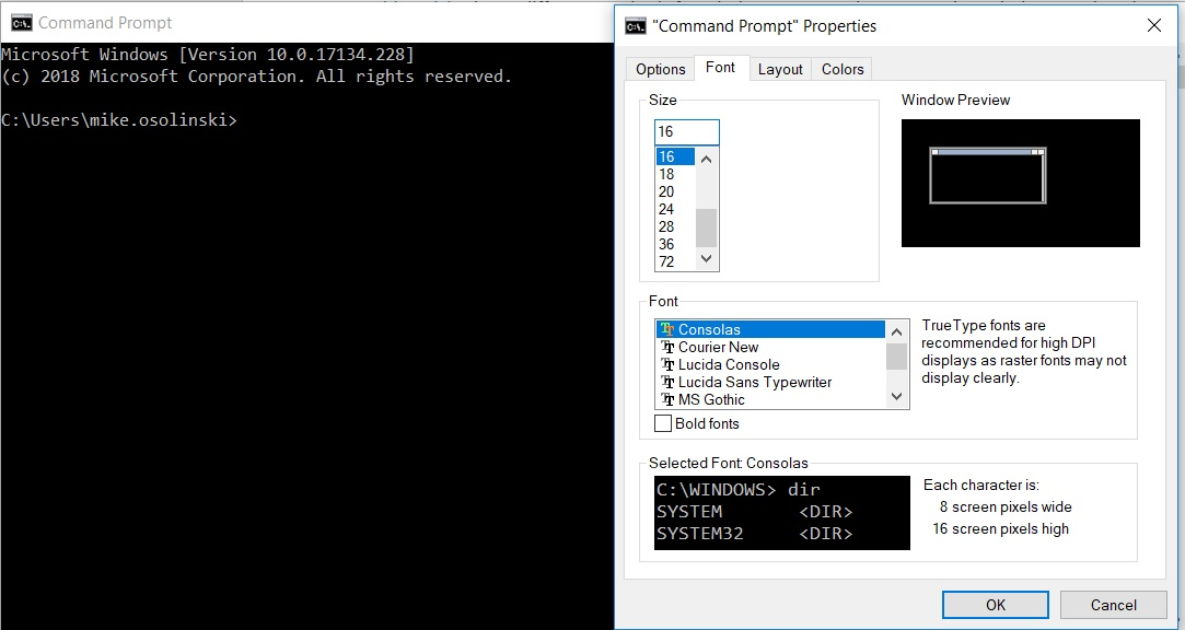 Windows Command Prompt Properties
