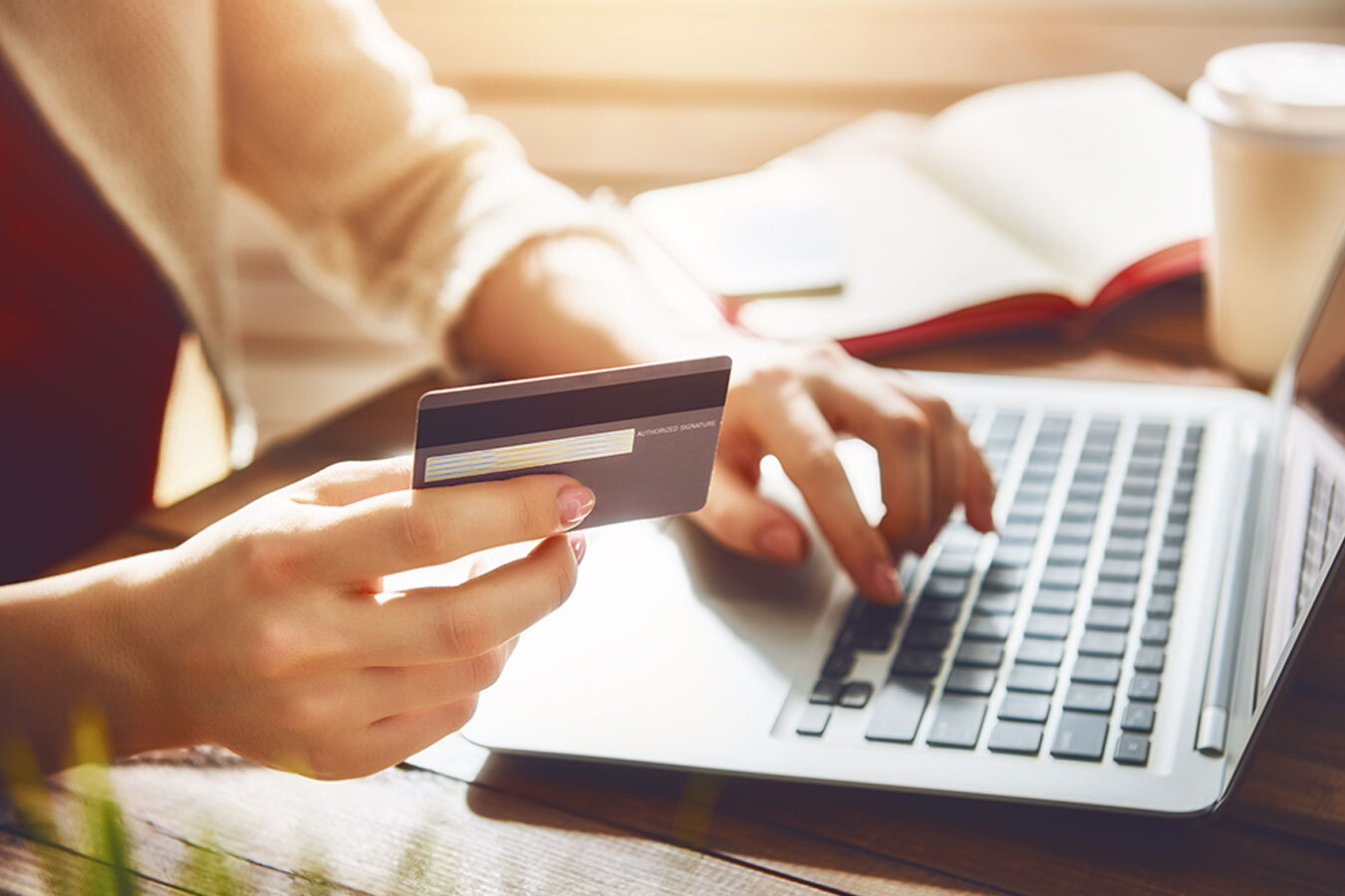 A customer uses their credit card to make a purchase online.