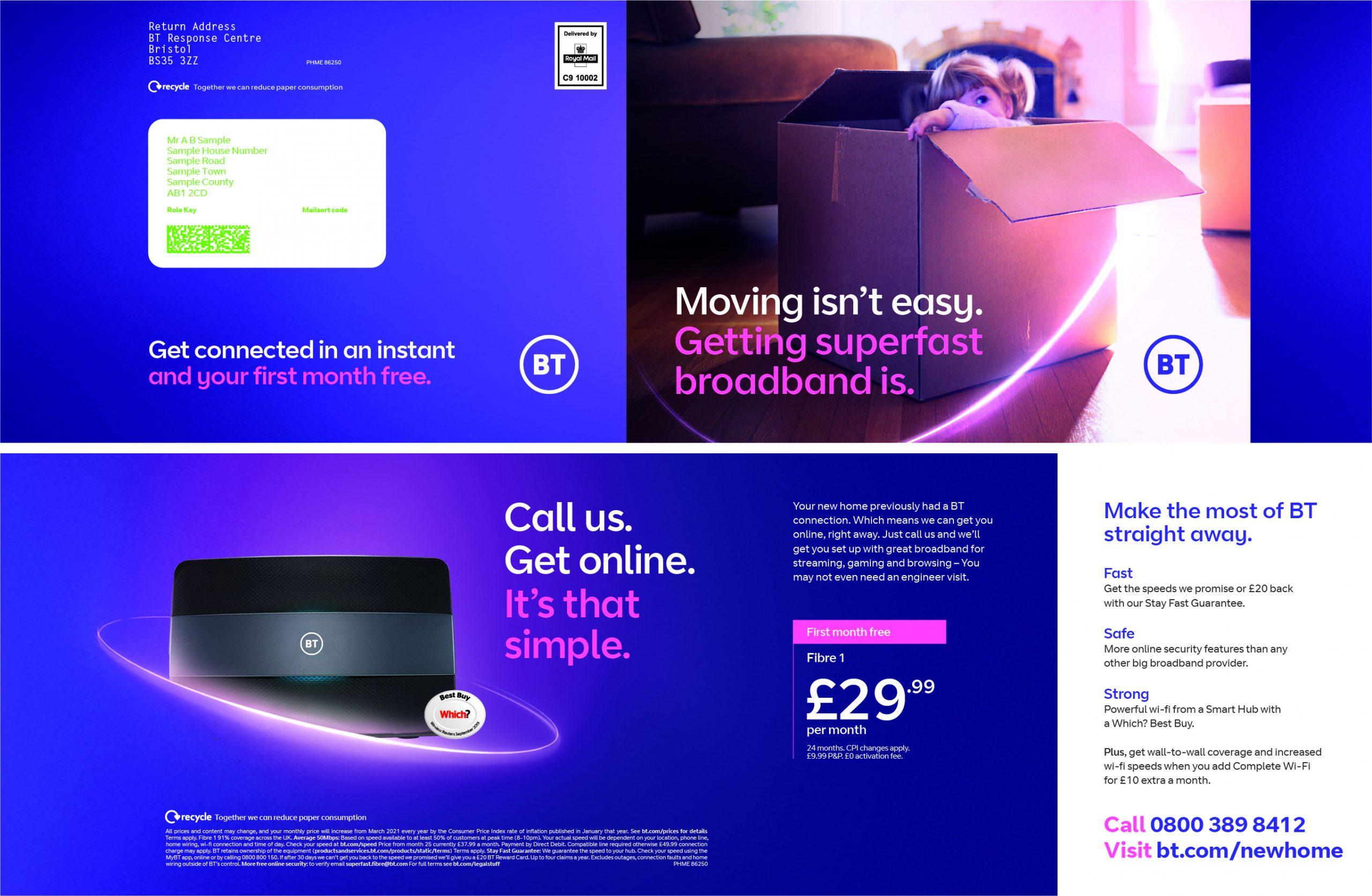 image of BT broadband mail sent to recent homemover