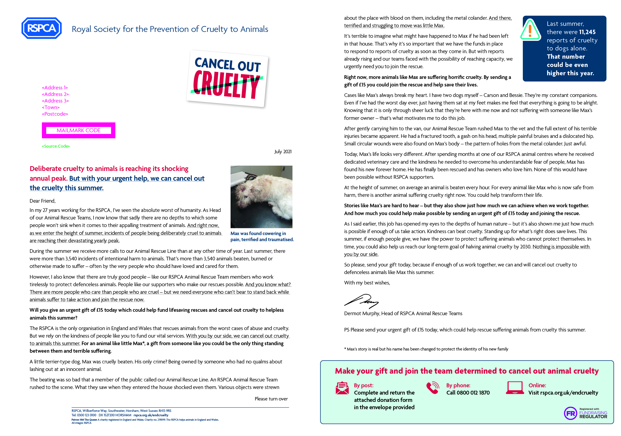 image of letter sent by RSPCA appealing for donations