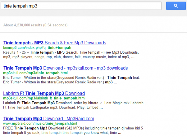 "Google search for ""tinie tempah mp3"""